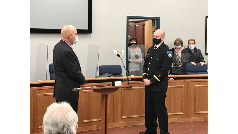 Oregon Police Chief Brandon Begin is sworn in during a ceremony on Monday, Jan. 4.