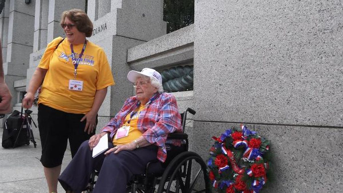 102 year-old Betty Casselman visits the World War II Memorial in Washington D.C.