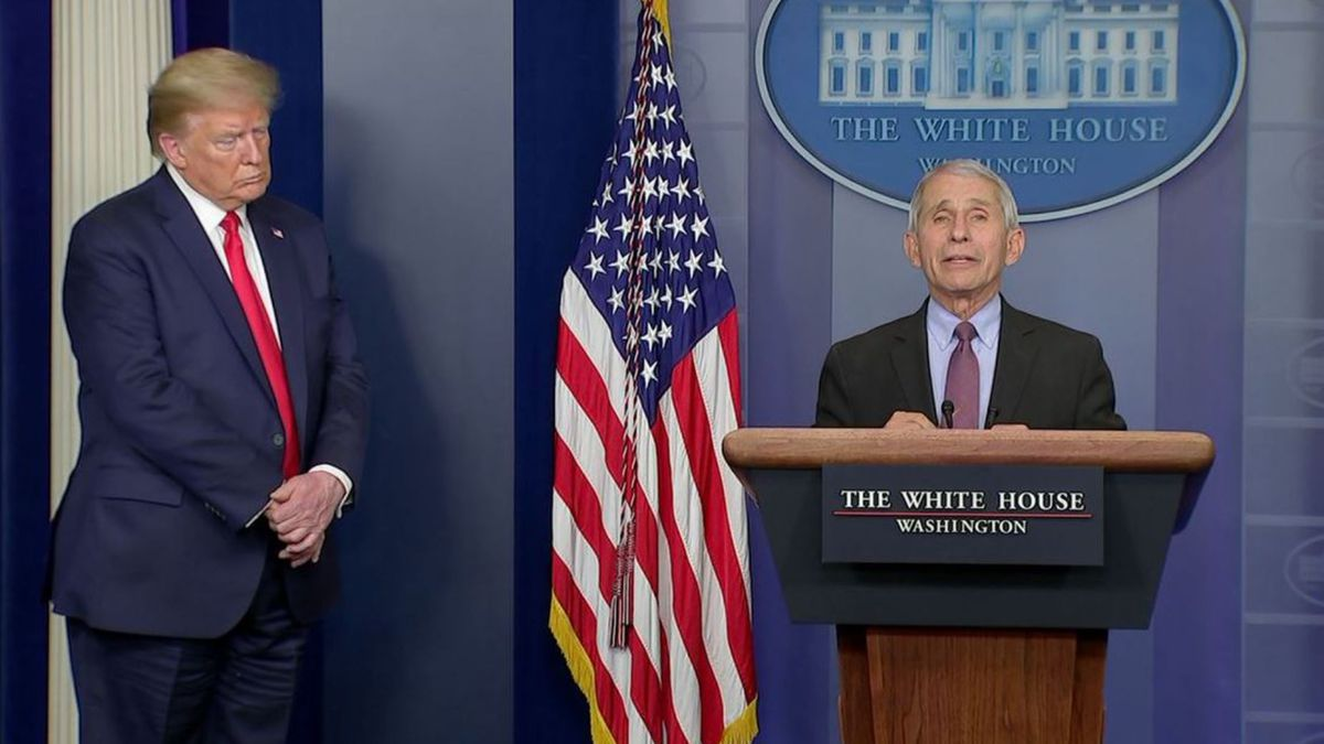 Dr. Anthony Fauci speaks as President Donald Trump looks on at a coronavirus task force briefing at the White House.(CNN, Pool)