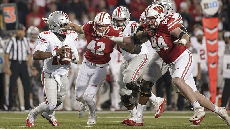 15 October 2016: Wisconsin Badgers outside linebacker T.J. Watt (42) and Wisconsin Badgers...