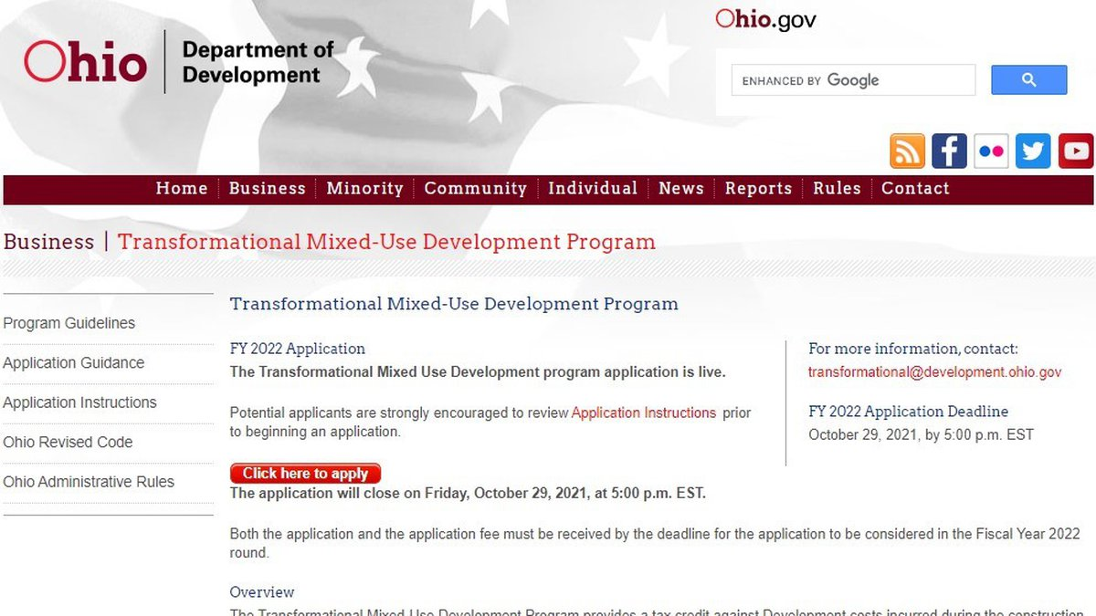 The Ohio Department of Development (Development) announced today that the application for the...