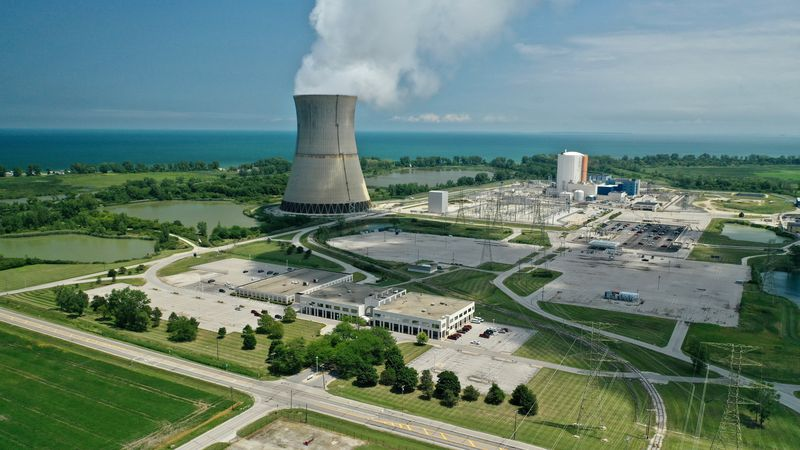 An aerial view of the Davis-Besse Nuclear Power Station in Oak Harbor, OH.