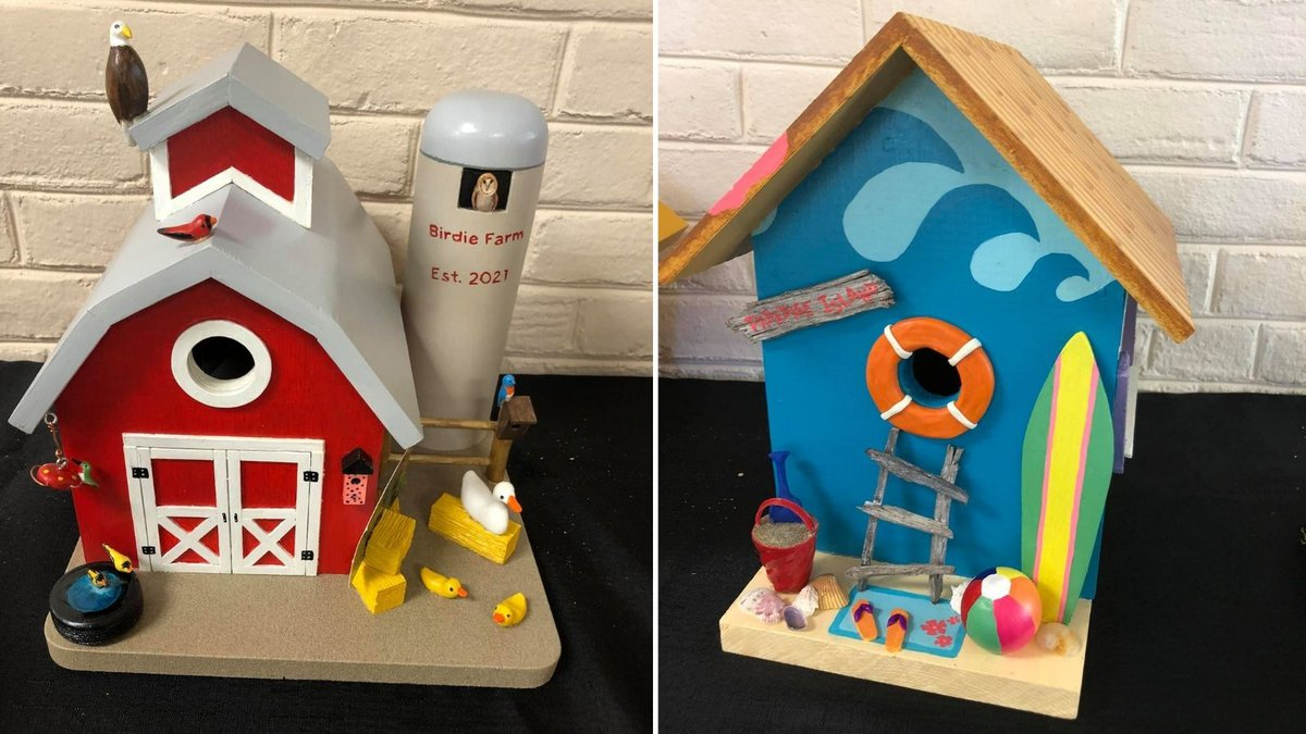 Birdhouses are on display at the Genoa Bank in Maumee. They are available through an online...