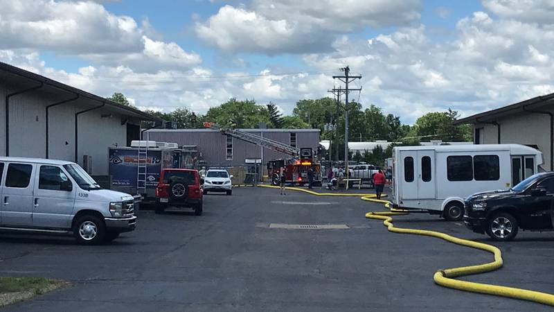 Traffic has been redirected around Airport Hwy and Holloway Road after a fire at an industrial...