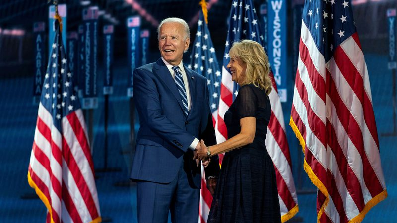 Democratic presidential candidate former Vice President Joe Biden, and his wife Jill Biden,...