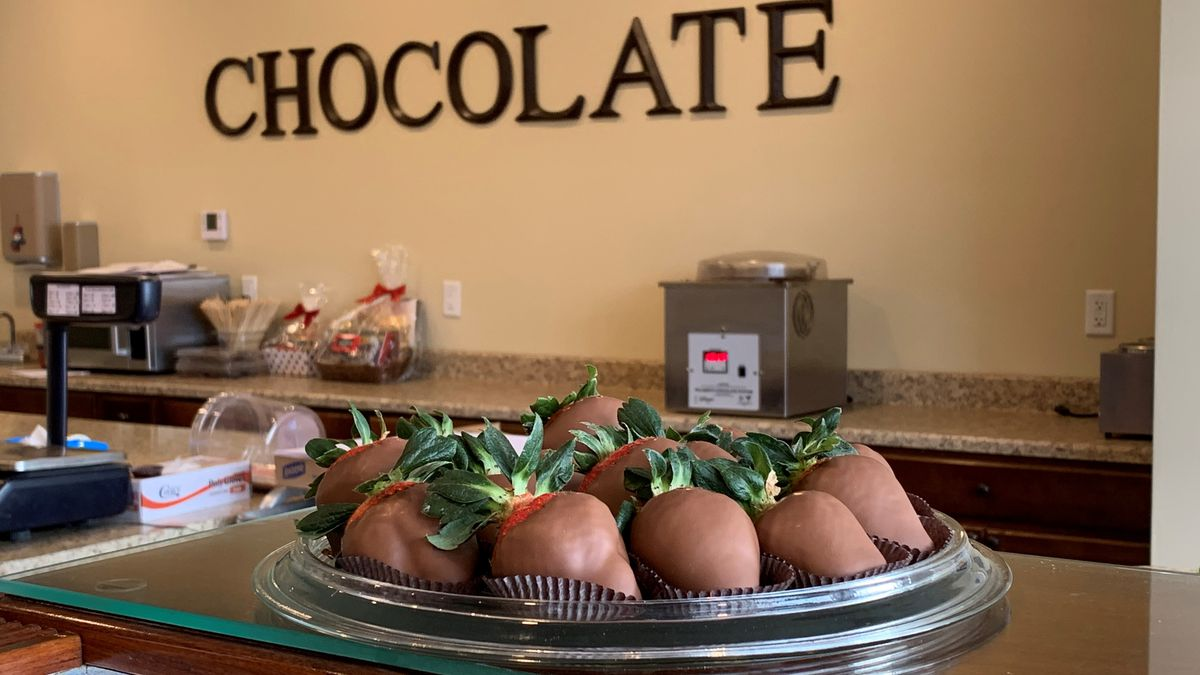 A plate of chocolate-covered strawberries from Maumee Valley Chocolate and Candy in Maumee.