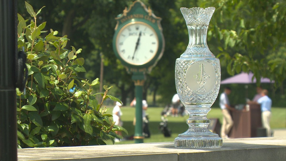 Construction on temporary suites, stands, and pavilions for The Solheim Cup at Inverness is set...