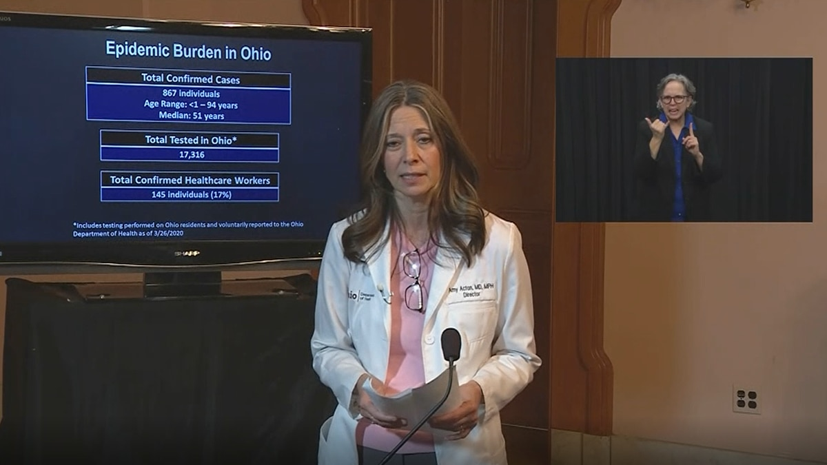 Dr. Amy Acton addresses the media on March 26, 2020
