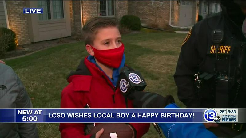 A Waterville boy got a birthday surprise after a sheriff's deputy saw him playing catch alone...