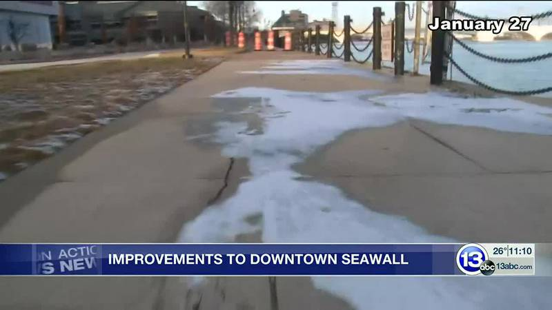 The area of the sidewalk by Promenade Park has been closed off for two years, but the city is...