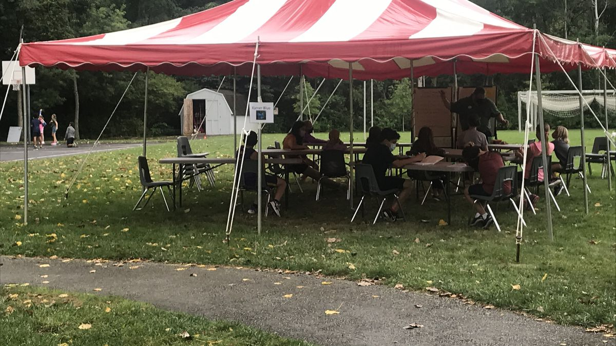 West Side Montessori set up tents on campus to facilitate outdoor classes.
