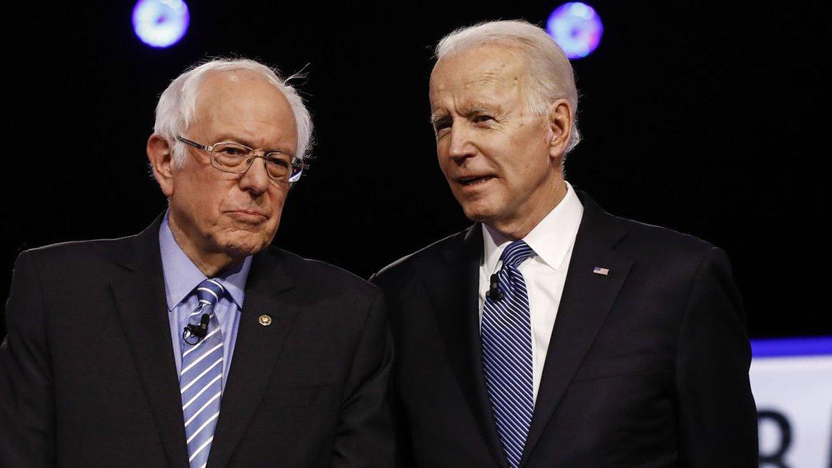 From left, Democratic presidential candidates, Sen. Bernie Sanders, I-Vt., former Vice...