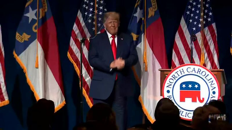 Former President Donald Trump speaks at North Carolina GOP convention dinner Saturday night.