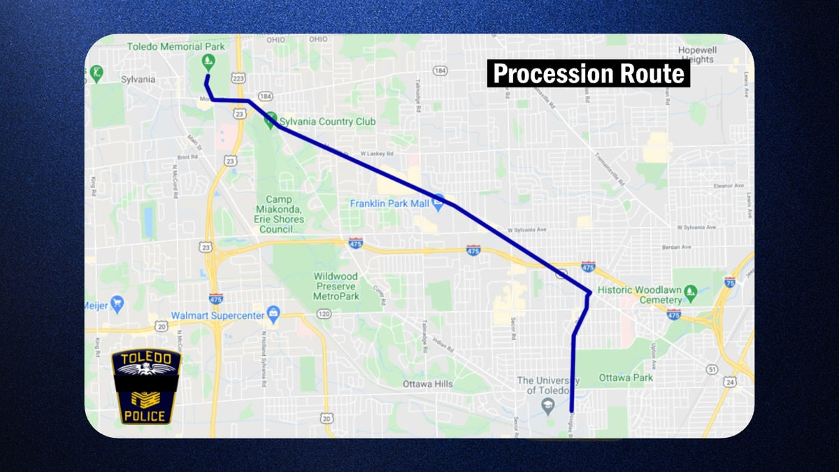 The route for the funeral of TPD Ofc. Brandon Stalker on Tuesday, Jan. 26.