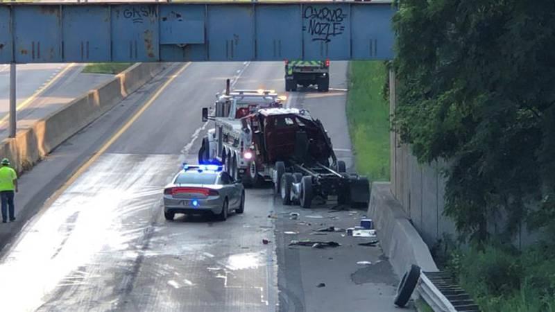 Crash shuts down traffic on I-475 on July 27, 2021.