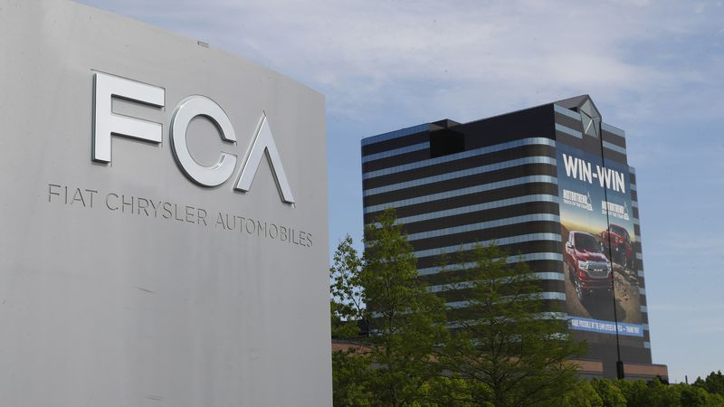 FILE - This May 27, 2019, file photo shows the Fiat Chrysler Automobiles world headquarters in...