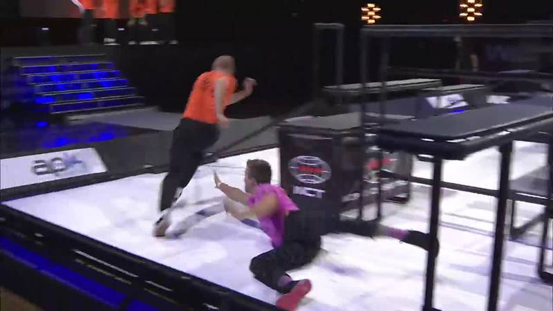 Two athletes compete in a World Chase Tag event.
