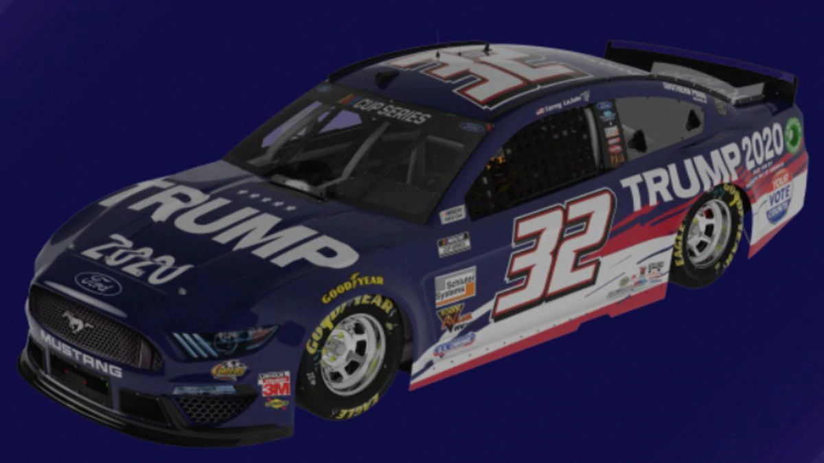 NASCAR Cup Series driver Corey LaJoie will race in a Trump 2020 Ford Mustang for nine races.