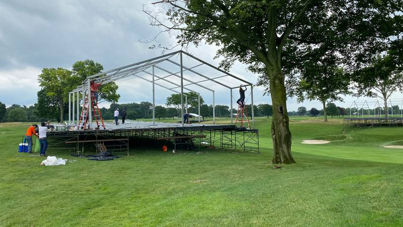 Construction begins at The Inverness Club ahead of the Solheim Cup.