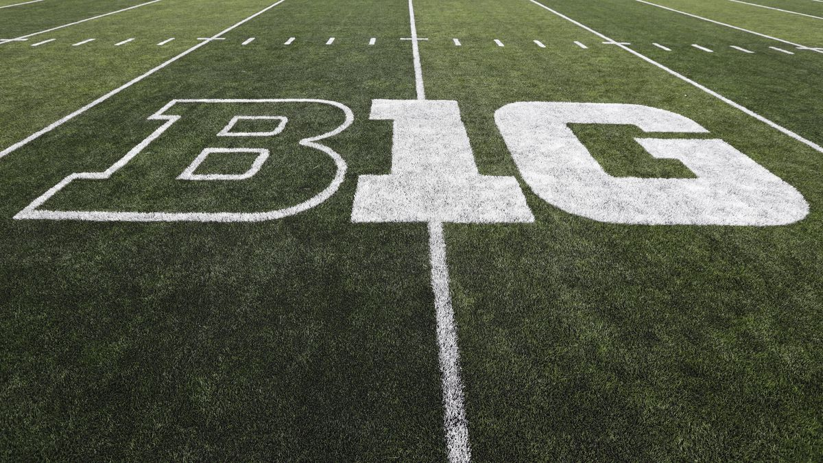 The Big Ten logo is seen on the field before an NCAA college football game between Iowa and Miami of Ohio, Saturday, Aug. 31, 2019, in Iowa City, Iowa.