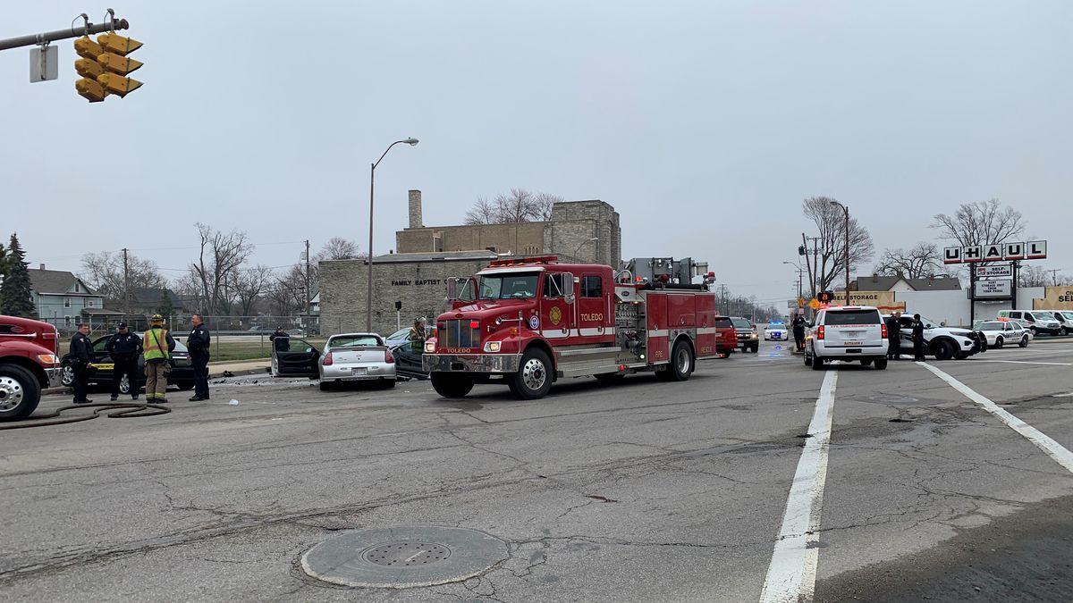 Crews are on the scene of a two-car crash on Bancroft at Monroe.