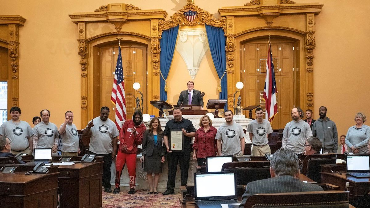 The Lucas County Special Olympics Flag Football team was honored by State Senator Theresa Gavarone for winning the state championship.
