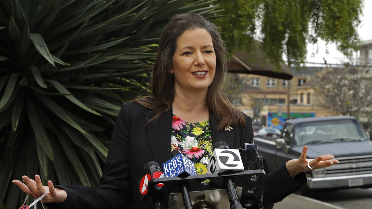 FILE - In this April 10, 2020, file photo, Oakland Mayor Libby Schaaf speaks at a news...