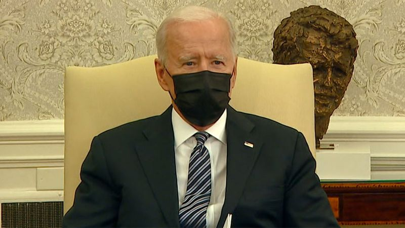 President Joe Biden meets with members of the Congressional Black Caucus in the Oval Office in...