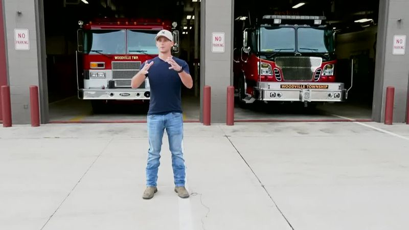 Conor Emch, 21, is a volunteer firefighter with Woodville Twp. Fire.