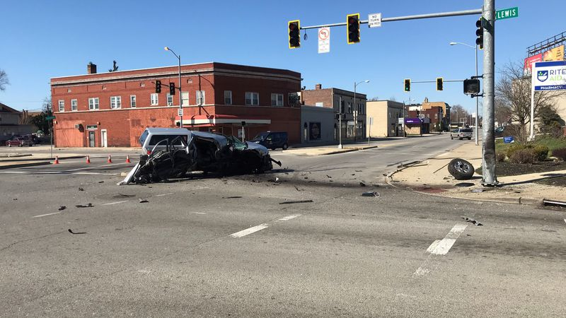 Police say the driver of the truck struck a light pole and ended up in the middle of the...