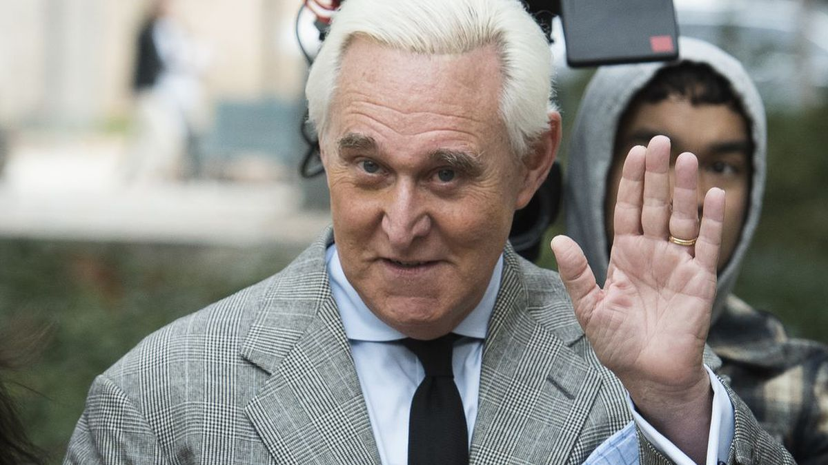 FILE - In this Nov. 7, 2019, file photo, Roger Stone arrives at federal court in Washington. (Source: AP Photo/Cliff Owen, File)