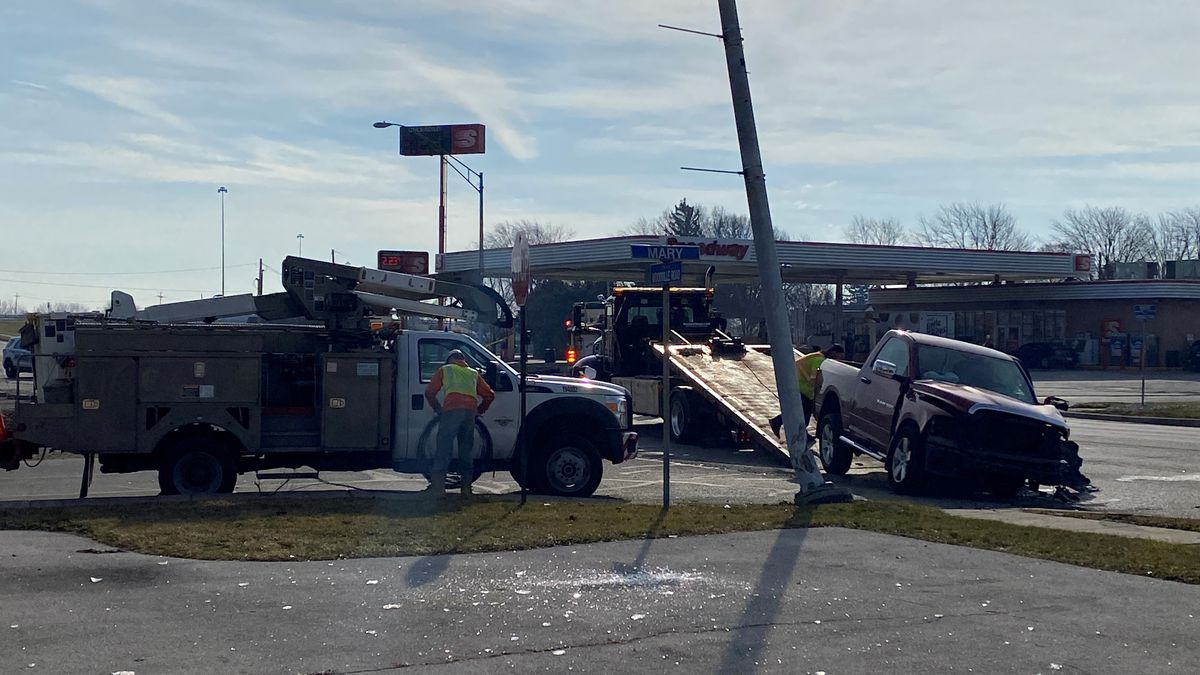 A car ran into a power pole during a crash Sunday, Jan. 10 in Northwood.