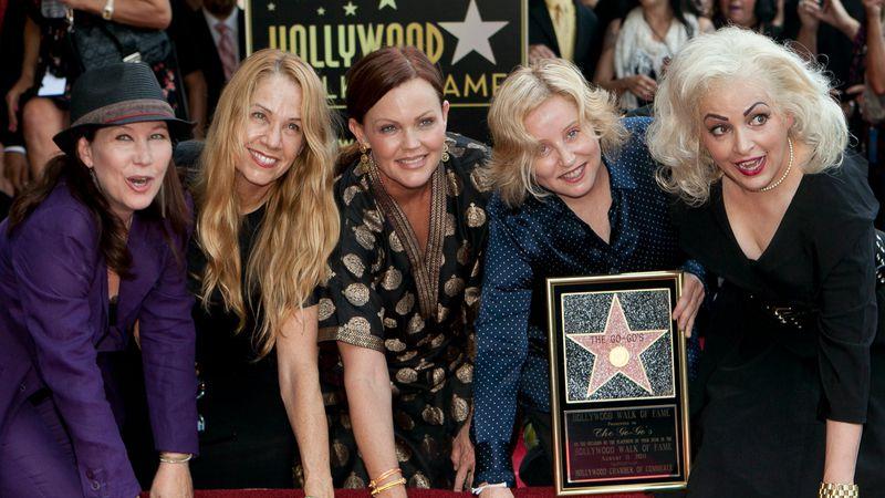 The female band The Go-Go's, from left, Kathy Valentine, Charlotte Caffey, Belinda Carlisle,...