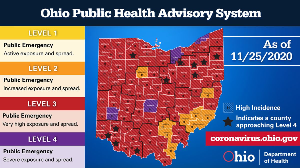 Three more counties have been elevated to purple on the advisory map.