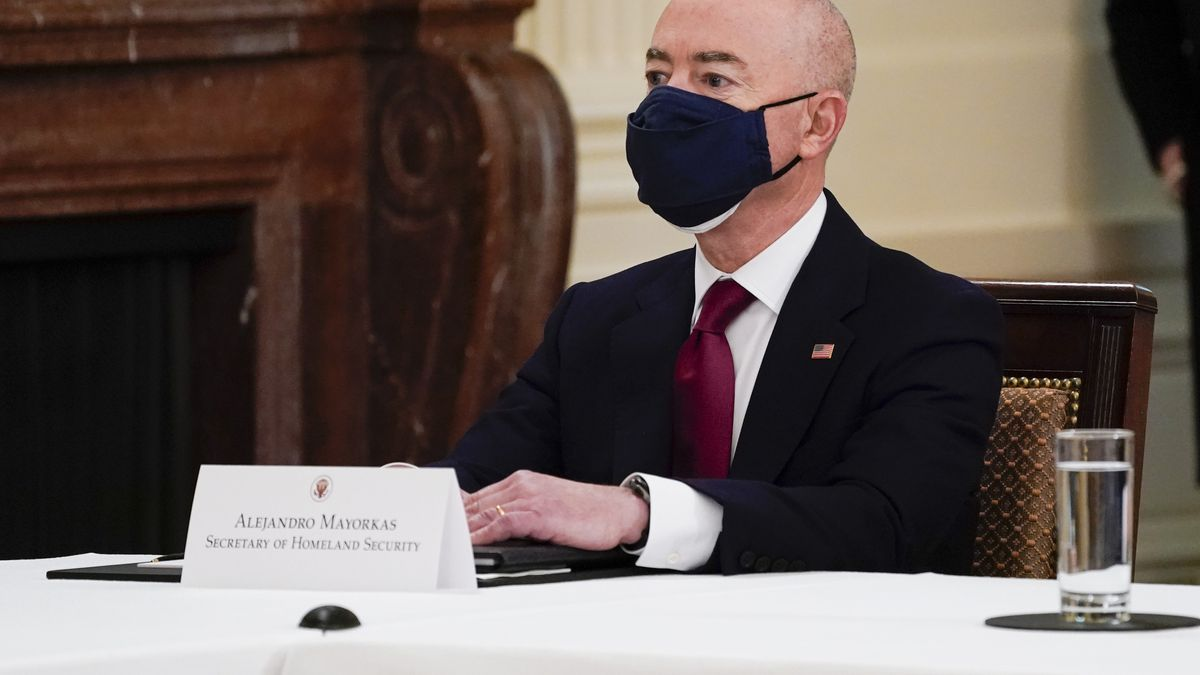 Secretary of Homeland Security Secretary Alejandro Mayorkas attends a Cabinet meeting with...