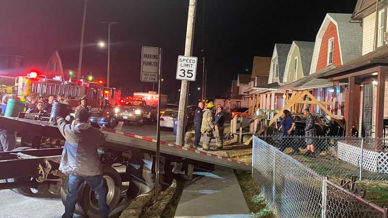 A car crashed into a house in east Toledo on Wednesday, April 7.
