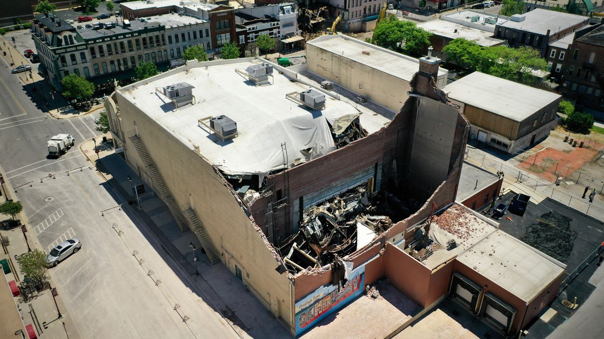 This aerial view shows the damage to the State Theatre in Sandusky after powerful storms ripped through the area Wednesday, June 10.