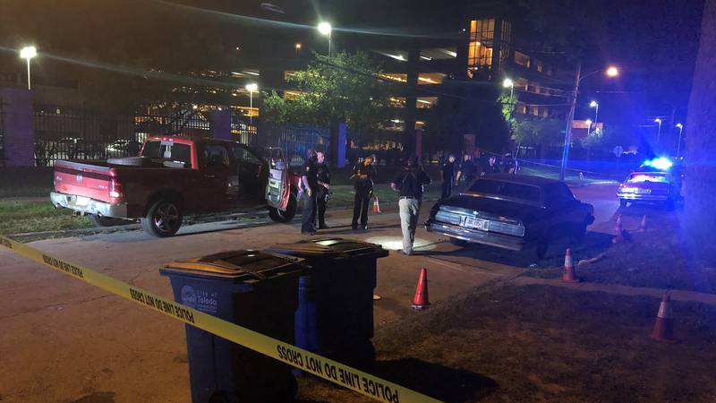 Toledo Police were on the scene of a shooting Monday night near Mercy St. Vincent Medical Center.