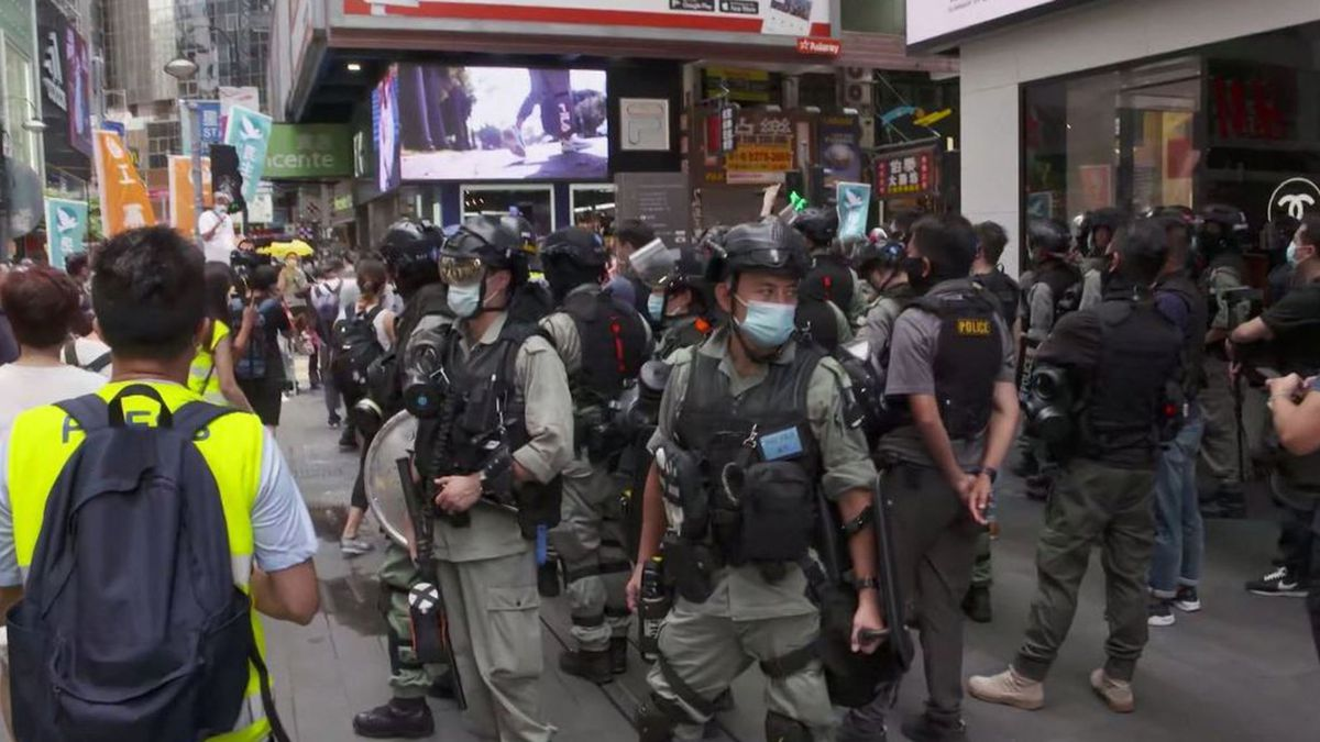 A heavy police presence was seen around Hong Kong on July 1, 2020, which was the anniversary...