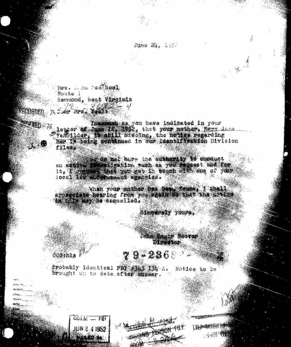 Letters from J. Edgar Hoover, head of the FBI, show correspondence with the Croft-VanGilder...