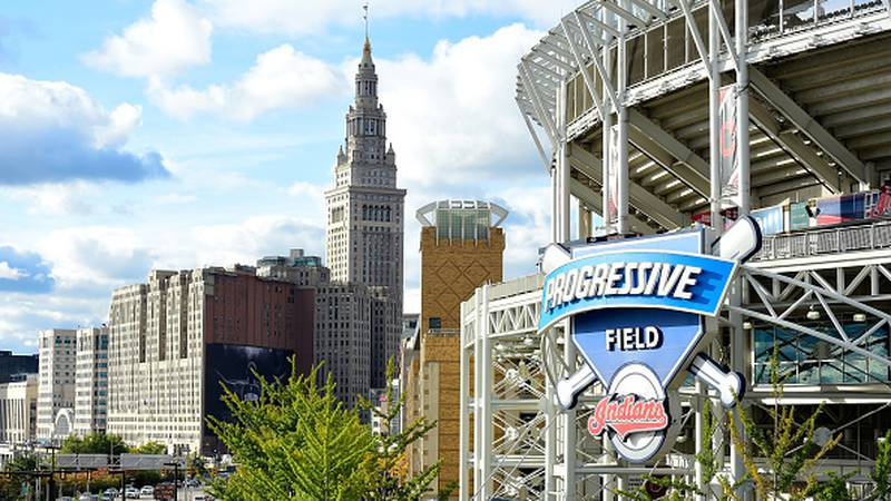 FILE PHOTO - A general view of Progressive Field and downtown Cleveland before Game One of the...