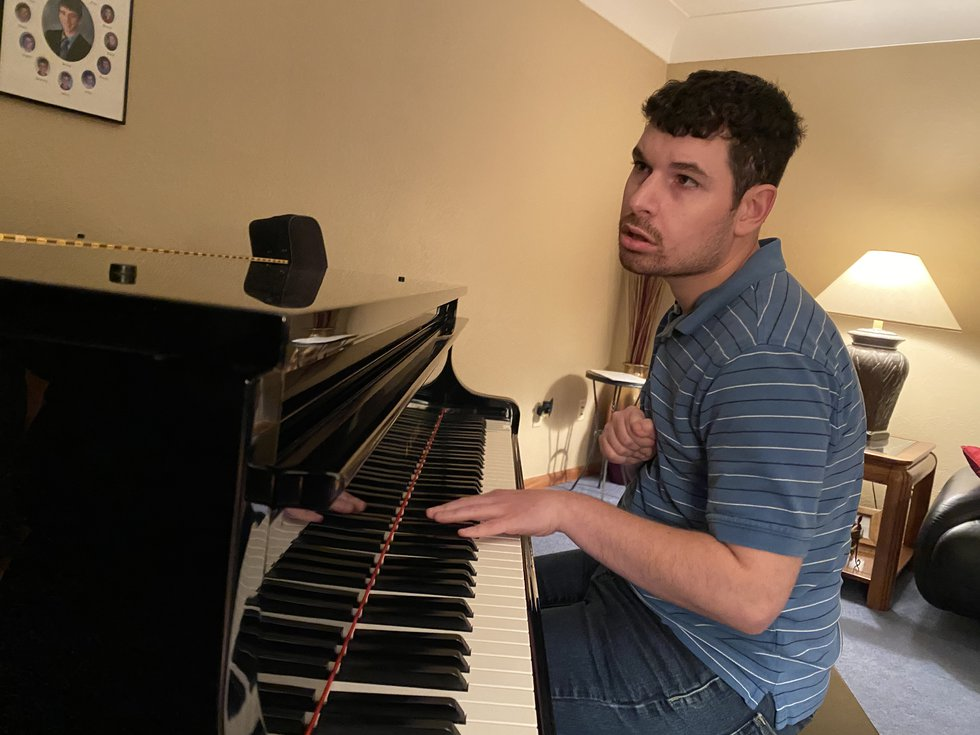 Corey Pappas plays the piano only with his left hand as a result of complications with Cerebral...