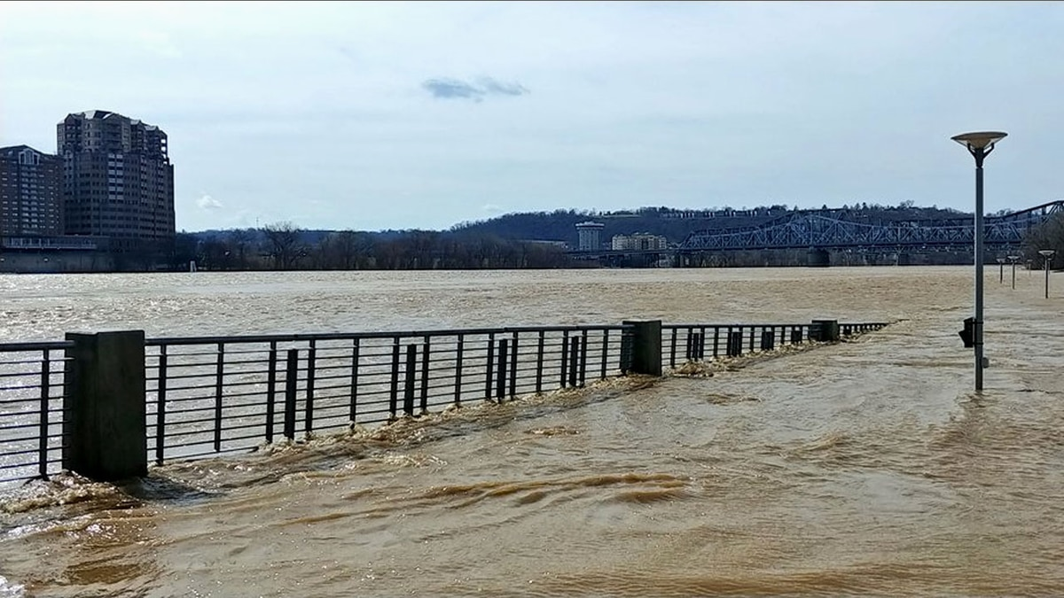 Riverfront on the Ohio river gets flooded, Photo Date: 2/20/2018<br />Photo: Scott Ford / Twitter