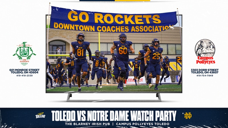 The University of Toledo football game against Notre Dame will be streamed live at two local...