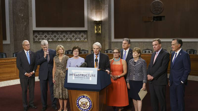 The bipartisan group of Senate negotiators speak to reporters just after a vote to start work...