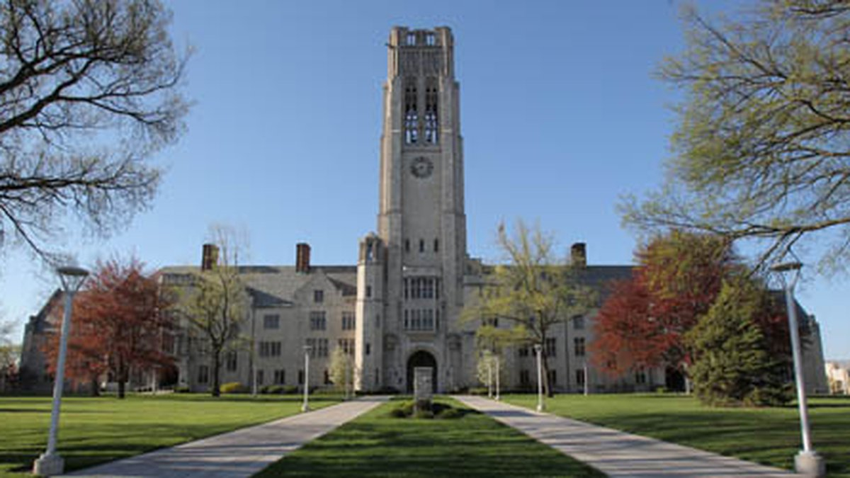 University Hall Clock Tower front-view during Spring.<br />CD-959