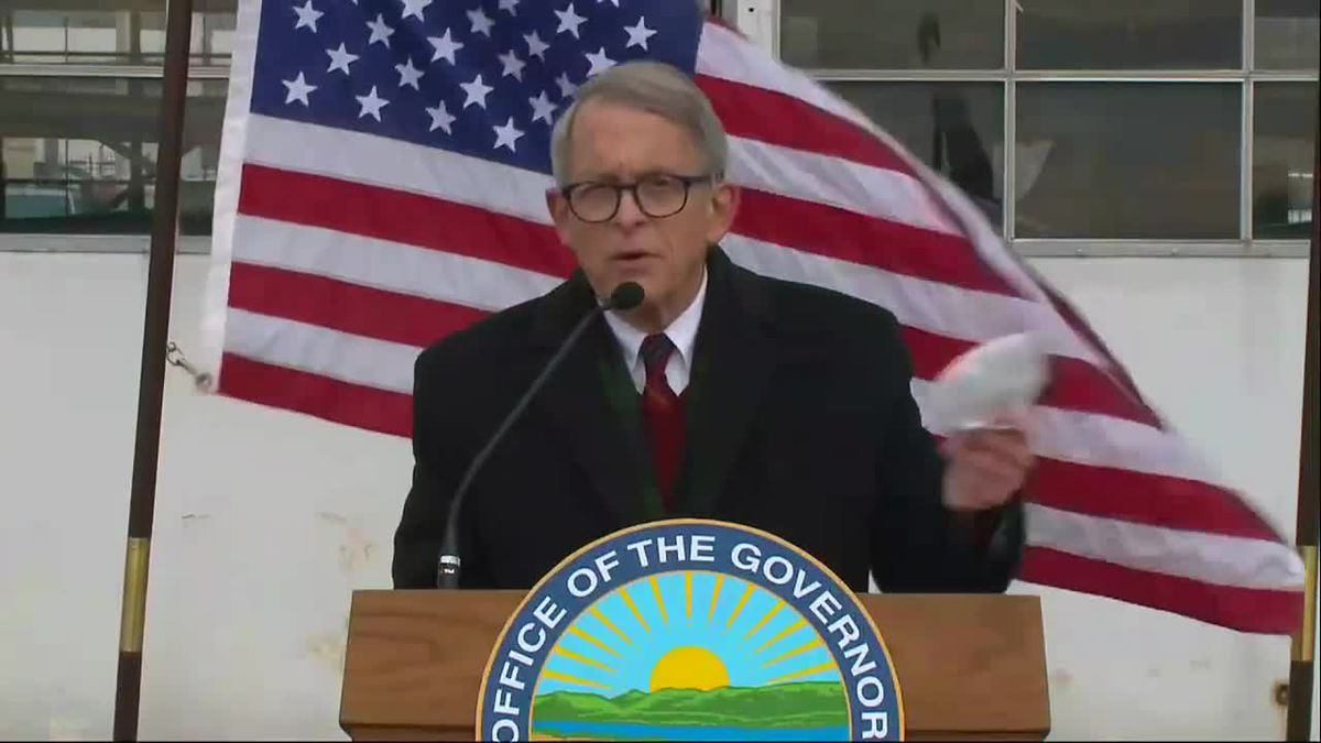 Gov. DeWine visited Toledo Express Airport on Tuesday to discuss the surging COVID-19 numbers...