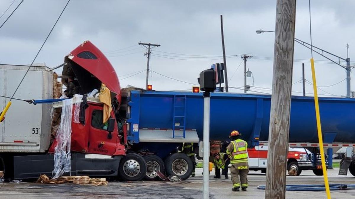 A crash involving two semis shut down I-280 South Monday, May 3, 2021.