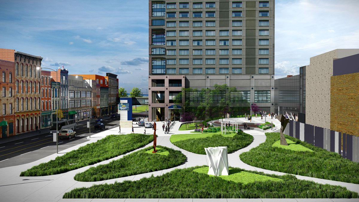 An architectural rendering of what the area of the Park Inn in downtown Toledo will look like once renovations are completed in 2022. (Photo courtesy of Lucas County Commissioners)