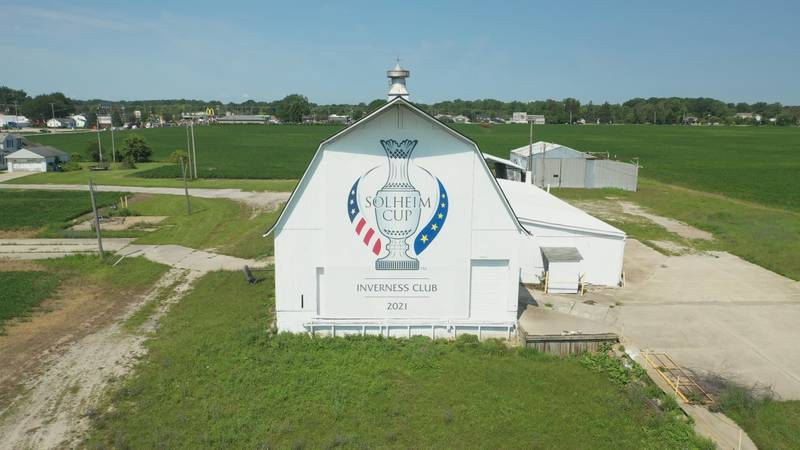 The Solheim Cup logo is painted on the side of a barn that is on Hill Ave. in Toledo.